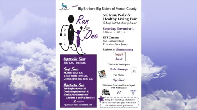 5KRunForOne-Nov1 Big Brothers Big Sisters of Mercer Nov.1st