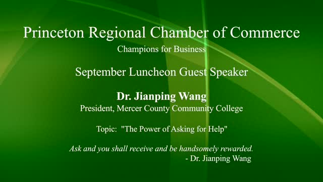 The Power of Asking for Help 2 September Speaker Princeton Regional Chamber of Commerce