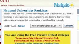 2010 US News College Rankings.