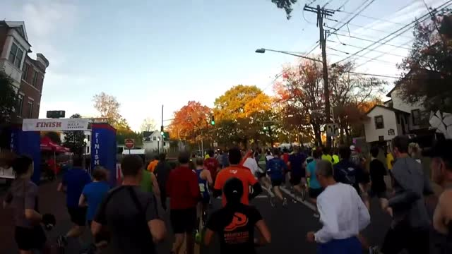 Princeton Half 2016 with a GoPro on a head strap.