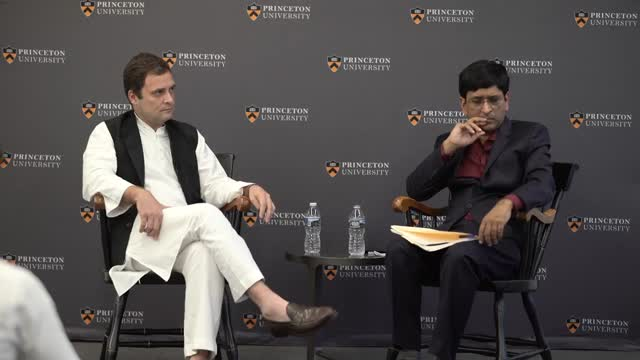 India VP Rahul Gandhi in conversation at Princeton University