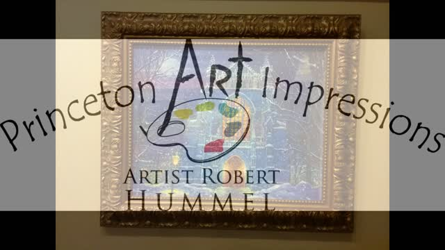 A SNOWY NIGHT AT THE UNIVERSITY CHAPEL - Painting by artist Robert Hummel, Princeton Art Impressions